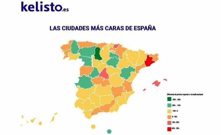 Mapa con los precios de las ciudades españolas. /Kelisto.es