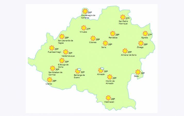 Mapa a las 14.00 horas. /eltiempo.es