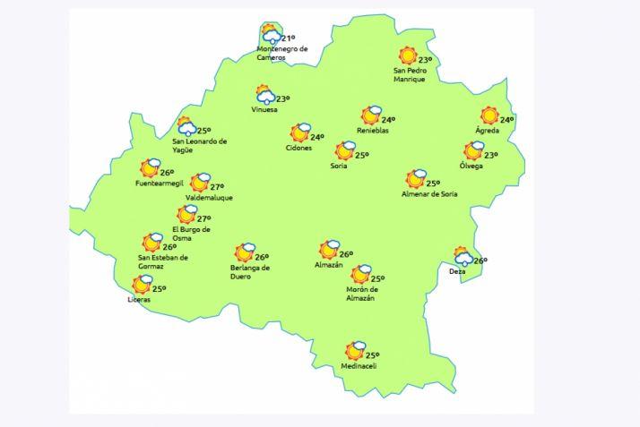 Mapa a las 13:00 horas. /eltiempo.es