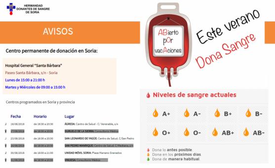 Desde la Hermandad de Donantes de Sangre de Soria se quiere hacer un llamamiento a la población soriana para que durante estos días se acerquen a donar; las reservas de sangre están en nivel naranja.
