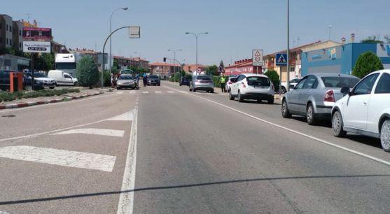 Imagen de la N-122 a la altura de Peñafiel tras un accidente el 13 de agosto.