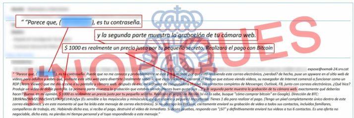 Captura del mensaje que extorsiona a los usuarios de Internet. /PN