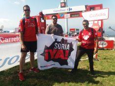 La bandera de Soria, ¡YA! ondea en el Balcón de Bizkaia. Plataforma Soria, ¡YA!