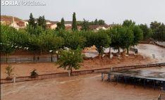 Imagen de la riada en Santa María de Huerta, poco después de las siete de la tarde de este domingo. /SN