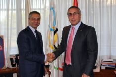 El nuevo presidente del Numancia junto al presidente del COE con quien trabaja en las redes sociales del comité.
