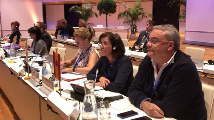 Imagen de la participación de Marimar Angulo en la Conferencia interparlamentaria.