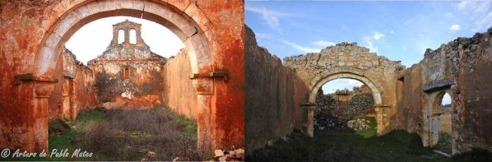 Estado de la ermita antes y después del robo.