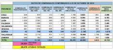 La distribución de los usuarios del servicio por provincias en CyL.