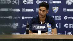 Munir Mohand, exarquero del CD Numancia, comparece en rueda de prensa. Málaga CF