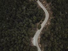 Vistas aéreas de una carretera. Imagen de archivo