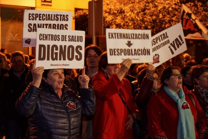 Soria Ya considera que la multutudinaria manifestación por la sanidad evidencia el cabreo de los sorianos por la situación de la provincia