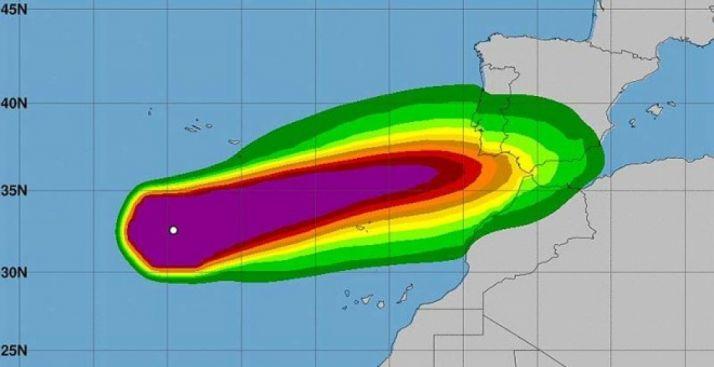 Evolución del ciclón Leslie, que se acerca a la península. AEMET