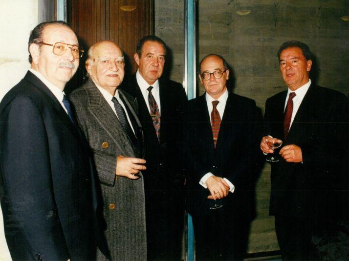 De izq. a dcha: Sebastián Ruiz, Federico de Nárdiz, José Luis Lérida, José Mª Cuevas (Presidente de CEOE) y Antonio Madurga.