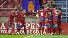 El Numancia celebra un tanto que logró ante el Tenerife en Los Pajaritos. LaLiga