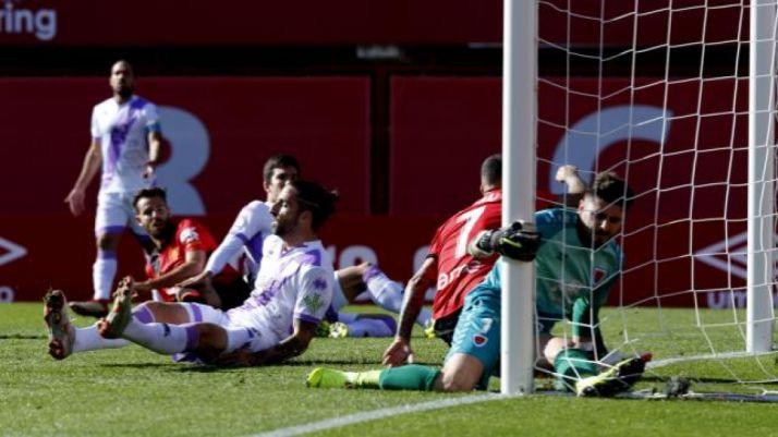 Momento en el que Juan Carlos ve entrar el 1-0 en Son Moix. LaLiga
