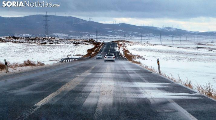 Imagen invernal de la N-122 entre Ágreda y Matalebreras, a la altura de Añavieja. /SN