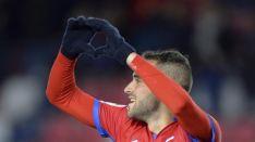 Higinio celebra el 1-0 en Soria. LaLiga