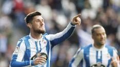 Borja Valle celebra el 2-0 en Riazor. LaLiga