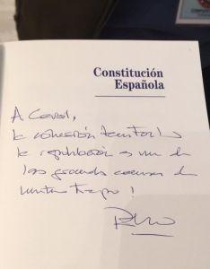 La dedicatoria del presidente. /IES Machado