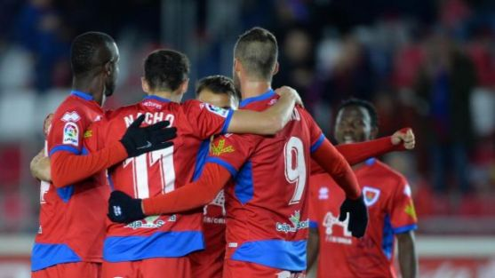 El Numancia celebra el 3-0 en Los Pajaritos ante el Nàstic. LaLiga