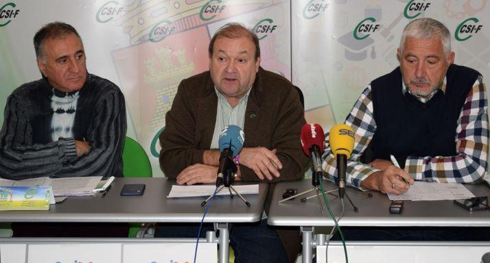 Raúl Castrillo, vicepresidente de Administración Local de CSIF en CyL; Carlos Hernando, presidente del sindicato en CyL y Valentín Martínez, responsable de Seguridad de CSIF CyL.