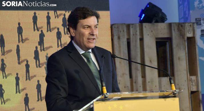 Fernández Carriedo, consejero de Empleo en una visita a Soria. /SN