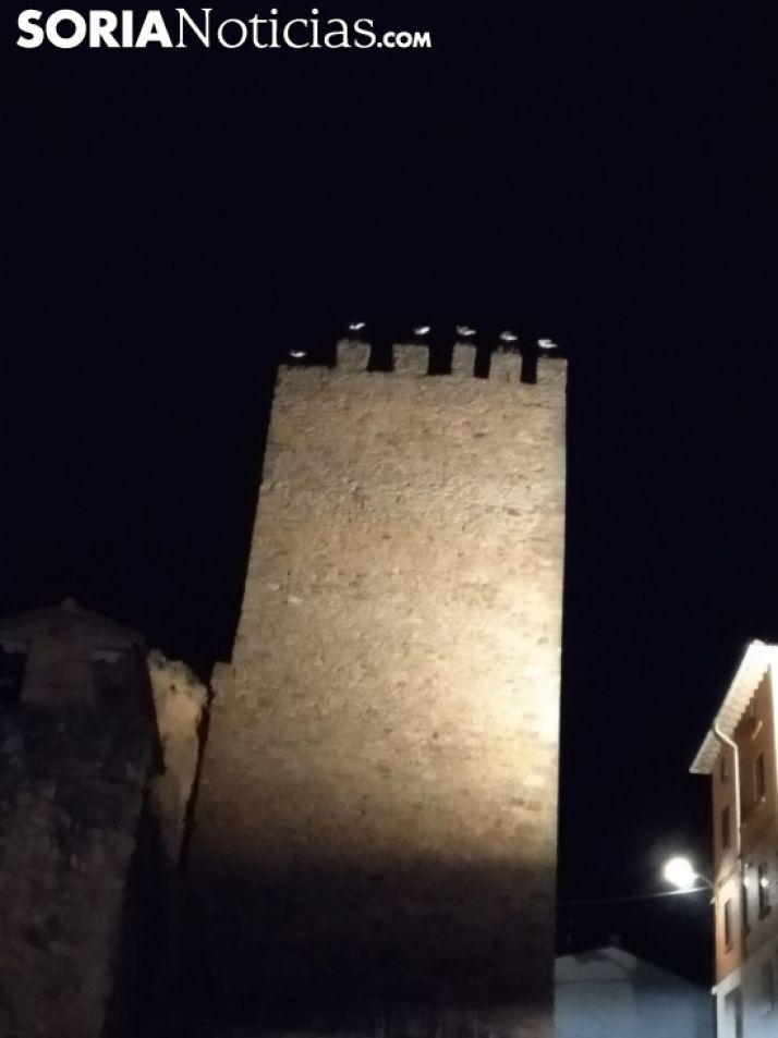Imagen de las aves en las almenas del torreón esta noche. /SN