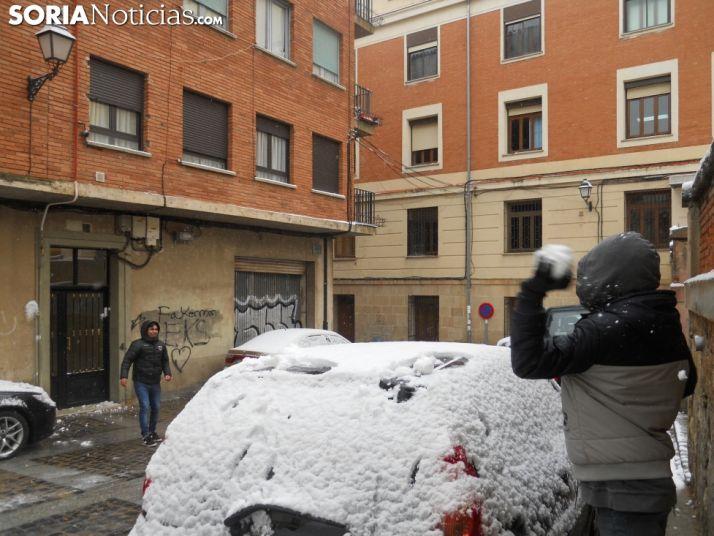 Día de nieve en la capital de Soria. SN