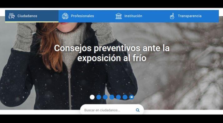 Una captura de pantalla del Portal regional de salud.