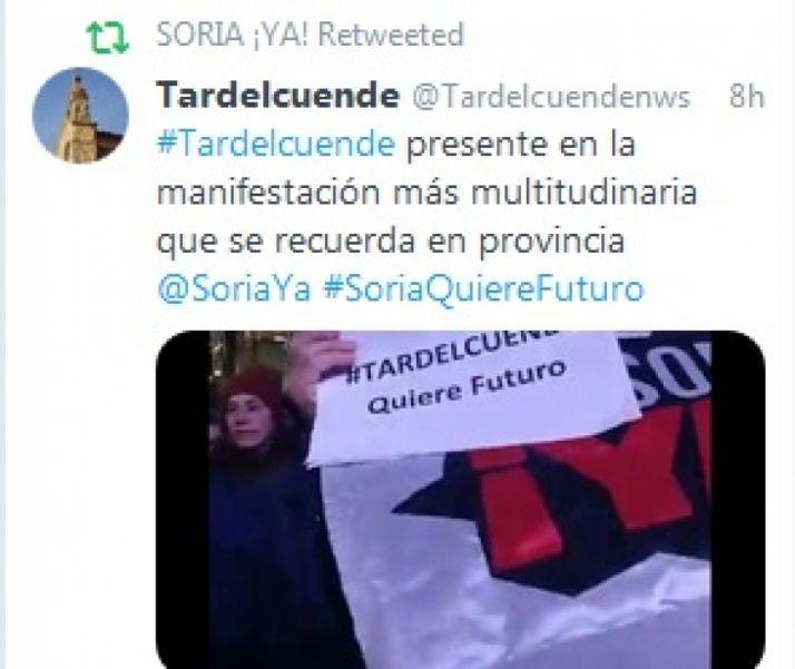 Foto 1 - Las redes sociales se vuelcan con la multitudinaria manifestación de Soria Ya