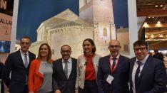Barcones, (izda.) junto al presidente de la Diputación y la ministra.