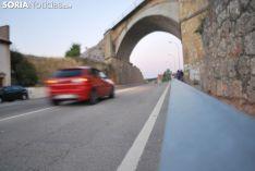 Tramo de carretera que da acceso a la capital de Soria.