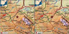 La localización de los seismos, (Ágreda, izda, y Ólvega). /IGN
