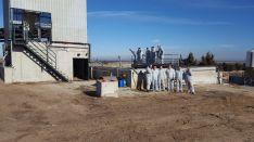 Miembros de la Directiva de FEPORCYL durante la visita realizada el 15 de enero a la granja de Villanueva de Gómez (Ávila).