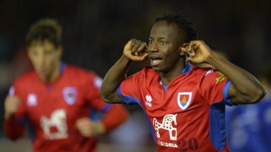 Yaw Yeboah celebra el 1-1 que registró ante el Real Oviedo (2-3) en Soria. LaLiga