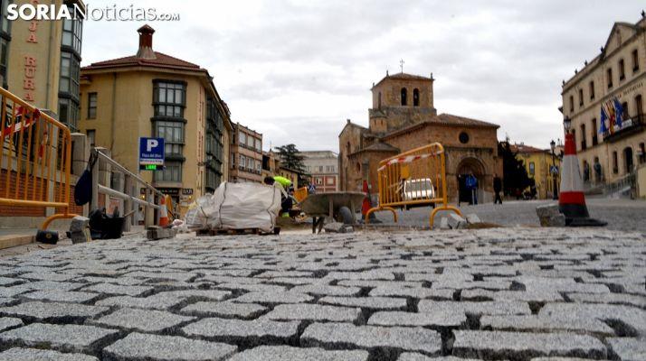 Imagen del adoquín instalado en el entorno de San Juan de Rabanera. /SN