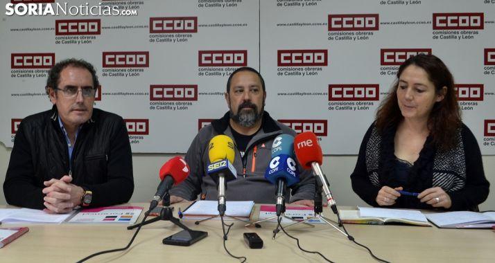 Del Río, Moreno y Álvarez este lunes en rueda de prensa en CCOO Soria. /SN