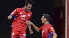 Alberto Escassi celebra el 1-0 ante el Extremadura en Los Pajaritos. LaLiga