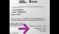 Detalle de una entrada a los cines. /Cs