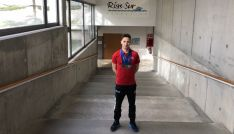 El nadador soriano, con sus medallas en Pontevedra. /CNS