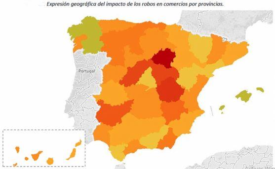 Distribución del impacto según provincias. /UNESPA