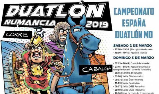 Cartel del Duatlón de Numancia. Federación de Triatlón de Castilla y León.