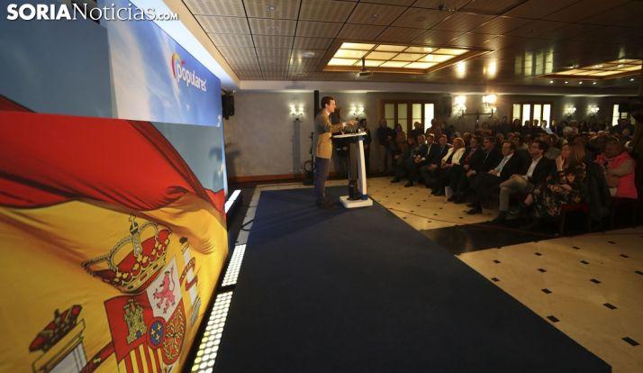 Pablo Casado en su intervención ante afiliados y simpatizantes del PP soriano. /SN