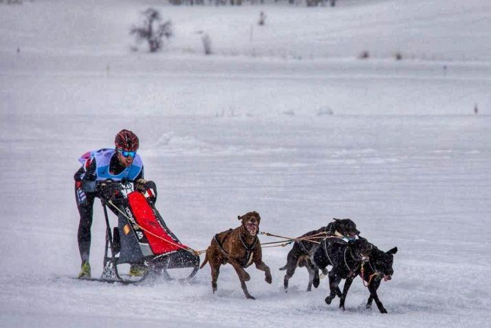 Jorge García, sobre el trineo en la nieve francesa. Cedida