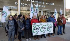 Miembros de la central sindical esta mañana. /CSIF