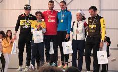 Una imagen del podio tras la prueba en la localidad palentina.