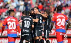 Los jugadores del Sporting celebrando el gol. LFP