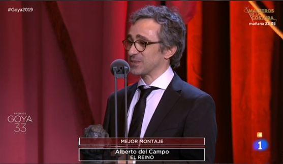 Del Campo en la gala de los Goya, en la retransmisión de RTVE. /RTVE