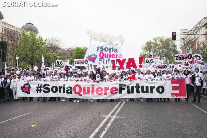 Cabecera de la manifestación de la Soria Ya en Madrid. Maria Ferrer