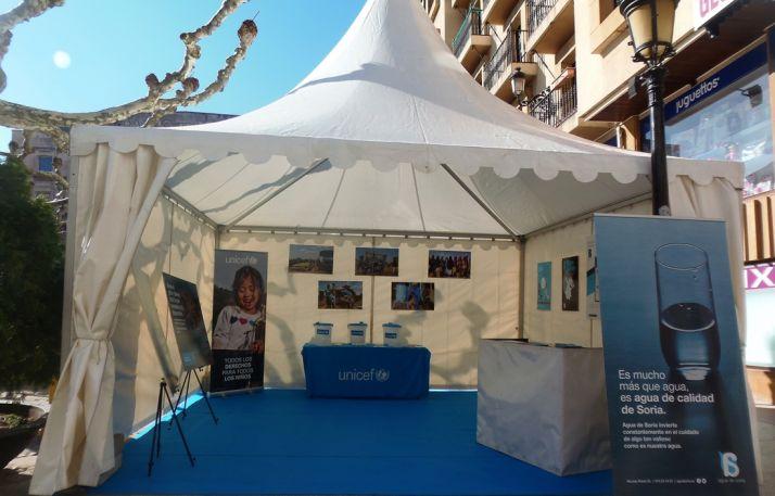 La carpa de Agua de Soria este viernes en la plaza de San Esteban. /AdS